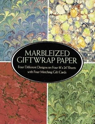 "Marbelized Giftwrap Paper: Four Different Designs on Four 18"" x 24"" Sheets with Four Matching Gift Cards"