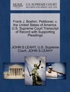 Frank J. Boehm, Petitioner, V. the United States of America. U.S. Supreme Court Transcript of Record with Supporting Pleadings