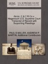 Akron, C & y R Co V. Hagenbuch U.S. Supreme Court Transcript of Record with Supporting Pleadings
