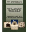Blackman V. Balaban & Katz Corp U.S. Supreme Court Transcript of Record with Supporting Pleadings
