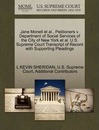 Jane Monell et al., Petitioners V. Department of Social Services of the City of New York et al. U.S. Supreme Court Transcript of Record with Supporting Pleadings