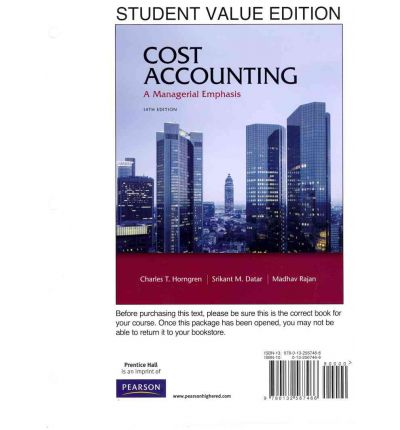 cost accounting horngren cap 7 Managerial and cost accounting 7 contents 16 job costing in service, not for-pro þ t, and governmental environments 161 the service sector.