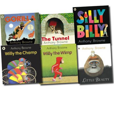 Anthony Browne Collection Set (little Beauty, Willy the Wimp, Willy the Champ, Silly Billy, Gorilla, the Tunnel)