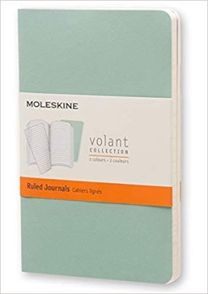 Moleskine Volant Journal (Set of 2), Pocket, Ruled, Sage Green, Seaweed Green, Soft Cover (3.5 X 5.5)