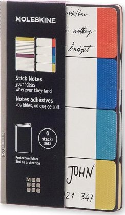 Moleskine Pro Collection Stick Notes - Semi Color: 6 Packs of 20 Stick Notes (4 Ruled/2 Plain)