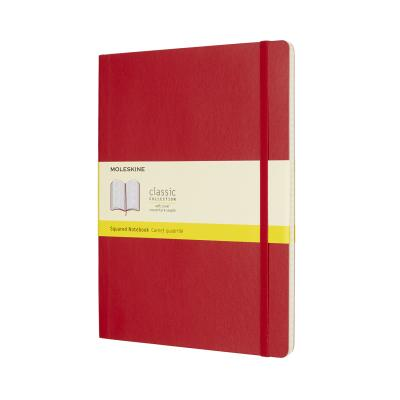 Moleskine Classic Notebook, Extra Large, Squared, Scarlet Red, Soft Cover (7.5 X 10)