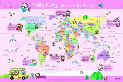 Hello Kitty Childrens World Wall Map Collins Maps - Childrens wall map