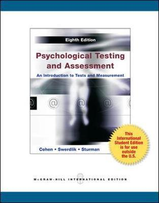 Psychological Testing and Assessment : Ronald Jay Cohen : 9780071318273