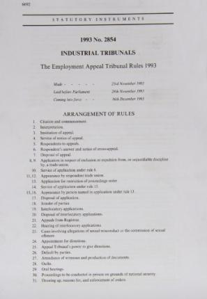 The Employment Appeal Tribunal Rules 1993: Industrial Tribunals