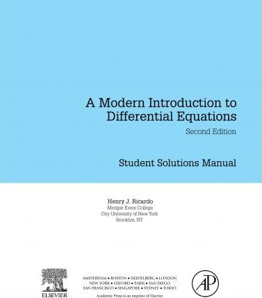 Student Solutions Manual, a Modern Introduction to Differential Equations