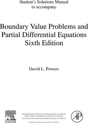Student's Solutions Manual, to Accompany Boundary Value Problems, Sixth Edition