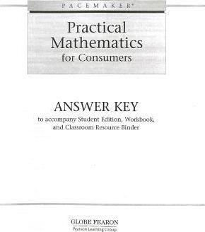 Pacemaker Practical Mathematics for Consumers, Answer Key : Globe