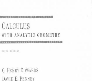 Calculus Analytic Geometry Student Solutions Manual