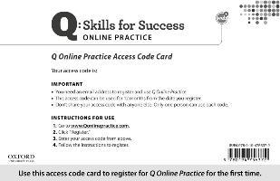 Q Online Practice Student Access Code Card