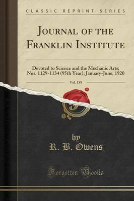 Journal of the Franklin Institute, Vol. 189