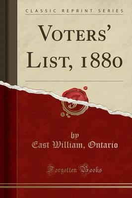Voters' List, 1880 (Classic Reprint)