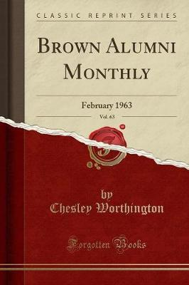 Brown Alumni Monthly, Vol. 63