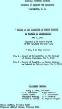 Report of the Committee on Marine Ecology as Related to Paleontology