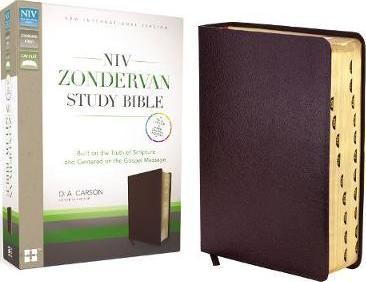 NIV Zondervan Study Bible, Bonded Leather, Burgundy, Indexed