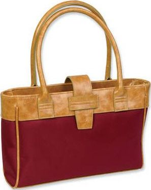 Microfiber Cranberry with Almond Leather-Look Trim and Handles Bible Carrier