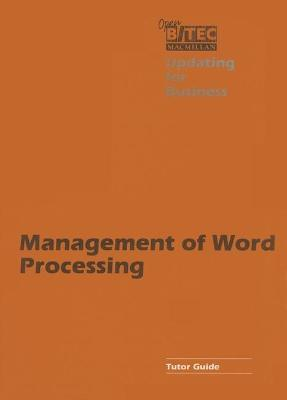 Management of Word Processing: Tchrs'