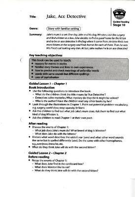 Storyworlds Bridges Stage 10 Jake Ace Detective Guided Reading Card