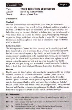 Literacy World: Comets 4 - Shakespeare Stories Guided Reading Card