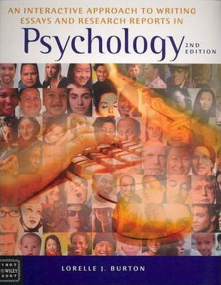 an interactive approach to writing essays and research reports in psychology 4th ed