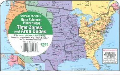Rand McNally Time Zones Area Codes Planner Map