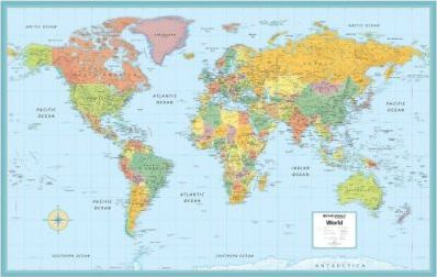World Deluxe Laminated Wall Map