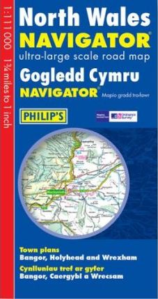 North Wales Navigator Ultra-Large Scale Road Map: Town Plans - Bangor, Holyhead & Wrexham