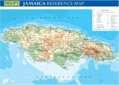 Philip's Jamaica Wall Map