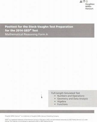 Steck Vaughn GED Posttest for Mathematical Reasoning Form a