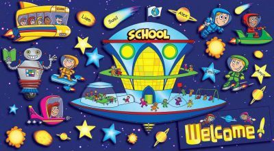 Space School Welcome Bulletin Board