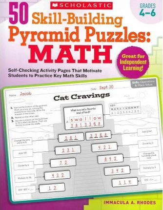 Astrosadventuresbookclub.com 50 Skill-Building Pyramid Puzzles: Math, Grades 4-6 : Self-Checking Activity Pages That Motivate Students to Practice Key Math Skills Image