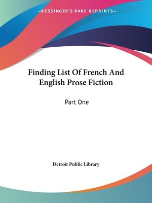 Finding List of French and English Prose Fiction