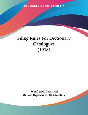 Filing Rules for Dictionary Catalogues (1918)