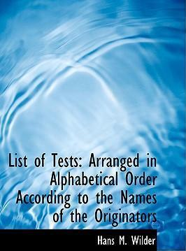 List of Tests