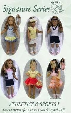 Signature Series ATHLETICS AND SPORTS I: Crochet Patterns for 18 Inch All American Girl Dolls B&W