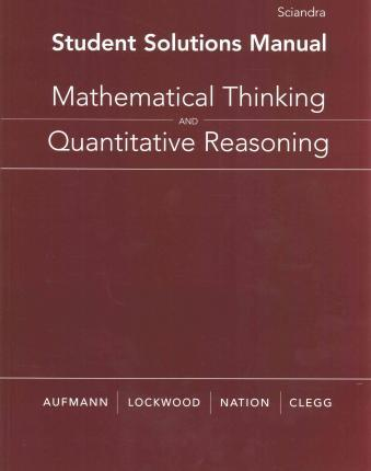 student solutions manual for aufmann lockwood nation clegg s rh bookdepository com introduction to mathematical thinking solutions manual Math Thinking