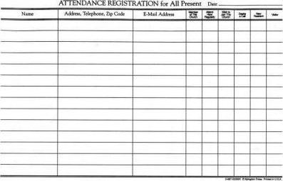 Attendance Registration Pad (Package of 10)