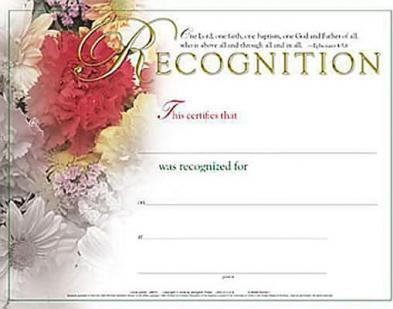 Certificate of Recognition Flower Bouquet