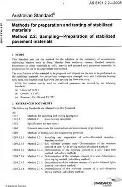 Methods of Preparation and Testing of Stabilized Materials- Sampling - Preparation of Stabilized Pavement Materials