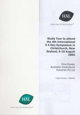 Study Tour to Attend the 4th International 5 Day Symposium in Christchurch, New Zealand, 8-10 August 2004