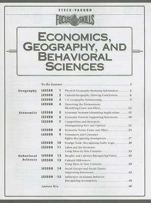 Economics, Geography, and Behavioral Sciences