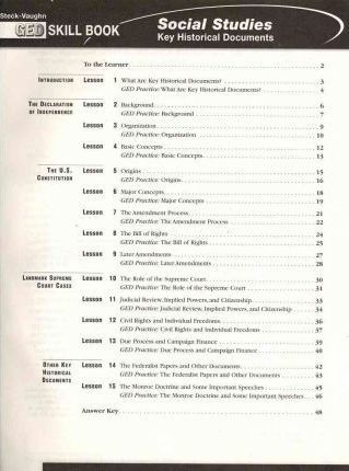 Social Studies: Key Historical Documents GED Skill Book
