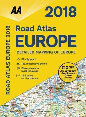 aa road atlas europe 2018