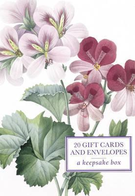 Tin Box of 20 Gift Cards and Envelopes: Redoute Geranium