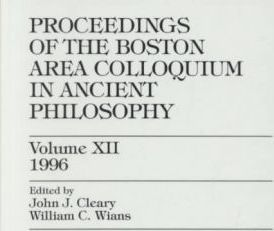 Proceedings of the Boston Area Colloquim in Ancient Philosophy 1996