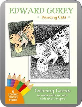 Edward Gorey Dancing Cats Coloring Cards Cc119